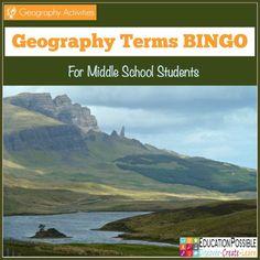 Geography Terms BINGO - FREE Printable