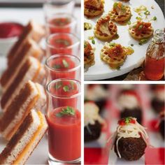 mini grilled cheese with tomato soup shooters, mini waffles with fried chicken, mini meatball + spaghetti