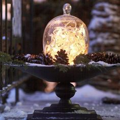 glass domes, white lights, holiday centerpieces, bird baths, snow globes, decorating ideas, holiday lights, lighting ideas, holiday decorating
