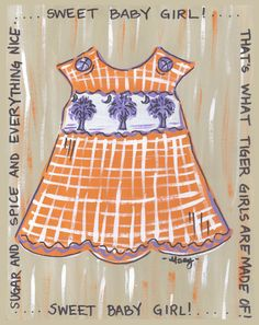 Orange and Purple Baby Girl Print  #Clemson #ClemsonTigers #ClemsonUniversity #Tigers #CU