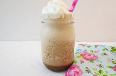 Skinny Vanilla Mocha Frappe - Ice coffee blended drink made with milk, vanilla and cocoa powder-