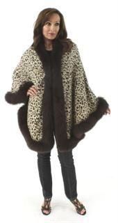 Wear Everywhere Elegant to Sporty Animal Print Cashmere Cape with Fox Trim
