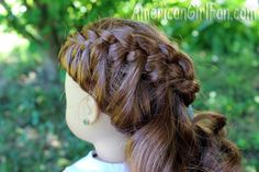 "American Girl 18"" Doll wraparound braid hairstyle. Cute web site for hairstyle ideas."