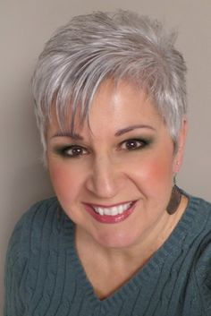 Pixie cut with silver gray hair!