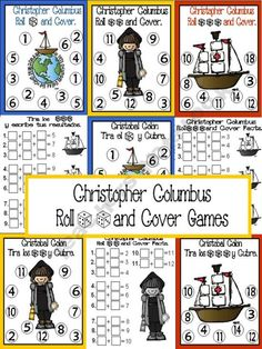 Christopher Columbus Roll and Cover Games {FREE} product from Bilingual-Resources on TeachersNotebook.com