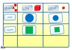 Printable activity, with a 2D shape theme, suitable for workstation use. Learners sort images into big or small columns and also label the shapes to identify. Available in two, differentiated versions - version 1 has shapes of two sizes and version 2 has shapes in three sizes