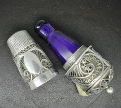 A Silver Filigree Tape Measure Thimble Scent Bottle Combination C1800 | eBay