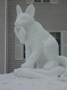 present- a snow sculpture