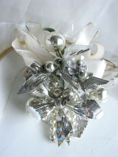 Vintage Silver Christmas Corsage Beads Balls Ribbon Millinery 1960s 1950s. $8.00, via Etsy.