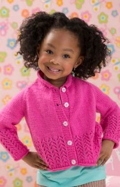 Sweet as Candy Cardigan Free Knitting Pattern from Red Heart Yarns