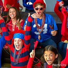Big Game's comin'! Have everyone whoop it up with pom-poms, noisemakers, outrageous wigs and beads in team colors – go team!