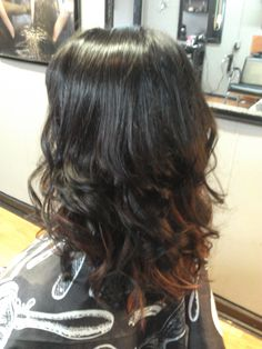 black and red ombre hair with sleek curls