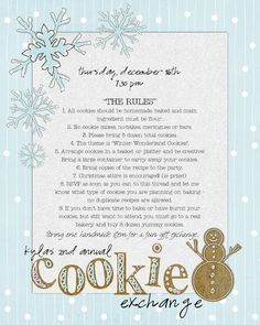 invite to Christmas cookie exchange