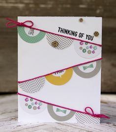Thinking of You {Chic Tags} - Scrapbook.com- simple banner card accented with decorative sequins!