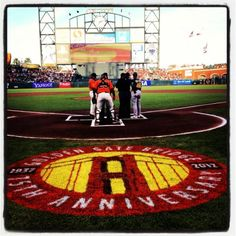 #SFGiants celebrate the 75th anniversary of the Golden Gate Bridge with the official Logo on the field May 18th, 2012