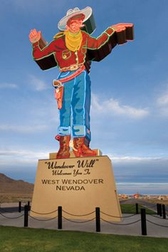The iconic, 40-foot-tall neon statue Wendover Will in West Wendover.