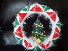 Handmade Holidays Yarn Wreath with Christmas by astrausa on Etsy,