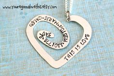 Personalized Hand Stamped Heart Spiral by youregonnalovethis this is love mother's necklace kids names Mother's Day hand stamped
