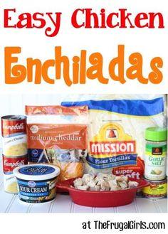 Easy Chicken Enchiladas Recipe! ~ from TheFrugalGirls.com