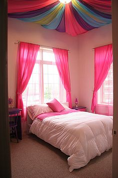 DIY project for your little princess. TIP: make sure to get fabric treated with flame retardant and lower the lighting fixture.
