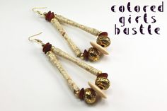 bead earrings, button earring, color girl, papers, bead duo