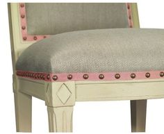 upholstery chair ribbon trim and nailhead detail | susanne kasler. hickory chair.