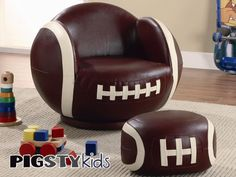 Large Kids Football Chair with Ottoman - Boys Room Furniture - My Pigsty