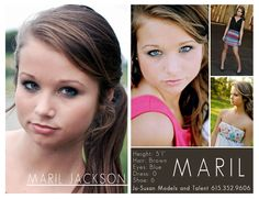 Model Comp Cards  © Jenny McNeill Photography