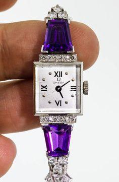 Antique 1930's Art Deco 10ct Amethyst Diamond Omega Platinum Ladies Watch
