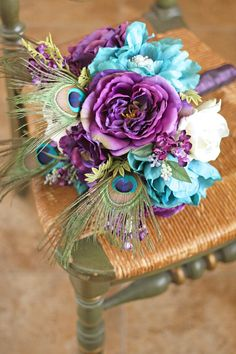 Plum and Teal Jeweled Peacock Wedding by SouthernGirlWeddings