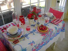 Vintage tablecloth tablescape