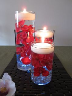Red Orchid Floating Candle Wedding Centerpiece by RoxyInspirations, $65.00