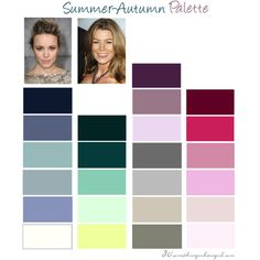 Summer-Autumn Colour Palette by thirtysomethingurbangirl on Polyvore | #colourpalette #colorpalette #summerautumn #softsummer