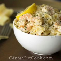 Shrimp Scampi Bow-Tie Pasta with Garlic Butter and Lemon Sauce.