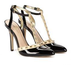 Black & Taupe T Strap Studded High Heel Pumps #ladies #shoes #pumps #heels #fashion #women