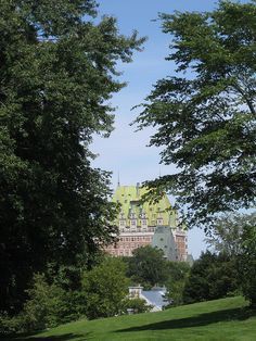 Le Chateau Frontenac through the trees - Quebec Canada