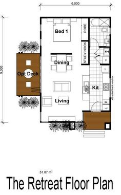 The Retreat - 560 sq. ft. Looks like the house plan on Brown