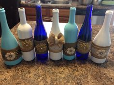 Decorative painted wine bottles