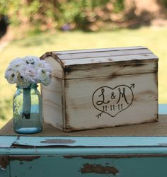 Rustic wooden box with burned initials and wedding date for cards...