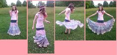 gypsy skirt from scraps and jeans jean skirts diy, gypsi skirt