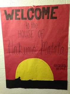 Lion King themed welcome sign for my hall
