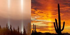 A light pillar is created by the reflection of light from ice crystals that lay horizontal. They can be light from the sun, moon, or even streetlights.
