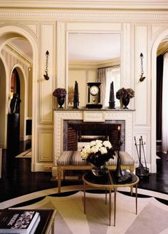 Living Room by Jean-Louis Deniot in Paris, France - beautiful fireplace | Architectural Digest
