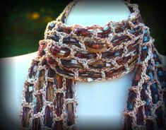 Silk Yarn Crochet Scarf with Ribbon Weaving by WireDreamsDesign