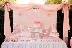 pretty in pink prima ballerina birthday party for grace complete dessert table with ribbon banner