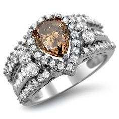 2.11ct Brown Pear Diamond Engagement Ring Bridal Set 14k White Gold