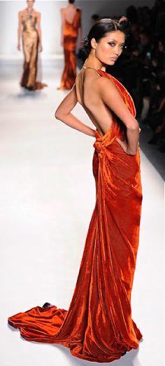 Amazing velvet one of my favorite textiles.....ORANGE , one of my favorite colors!  Grandin Road Color Crush on Burnt Orange