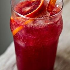 Blood Orange Fizzy Drink  3/4 cup fizzy ginger ale (high quality glass bottle stuff)  3/4 cup blood orange juice (fresh, about 3 blood oranges)  1/4 cup orange juice (fresh, about 1 orange)  3/4 cup ice  1 tall frosted glass + straw    tip! This bevie makes an excellent mimosa mixer! Just add 1 part sparkling wine to 1 part of this orangeade. I made this last night with some leftover rose champagne. Awesome cocktail.