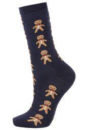 Navy Gingerbread Man Socks
