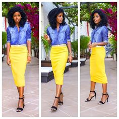 denim shirt paired with midi yellow skirt. Yellow is my fave summer color. Will try paired with denim